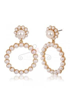 Cercei dama rotunzi cu perle