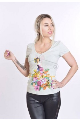 Tricou pictat manual Flowers