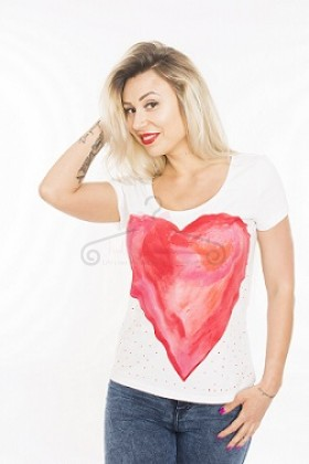 Tricou pictat manual Heart