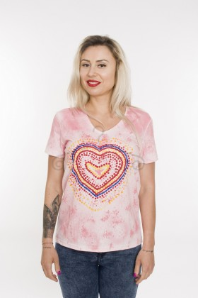 Tricou pictat manual Rainbow Heart