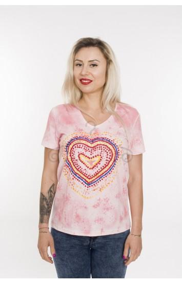 Tricou pictat manual Rainbow Heart